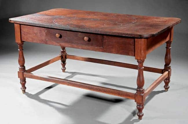 Southern Carved Walnet Farm Table