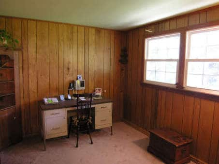 Painting knotty pine paneling paint paneling cabin diy Mobile home interior wall paneling