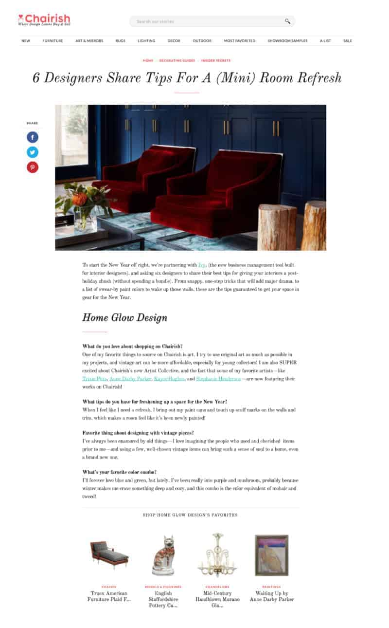 Chairish Features Home Glow Design