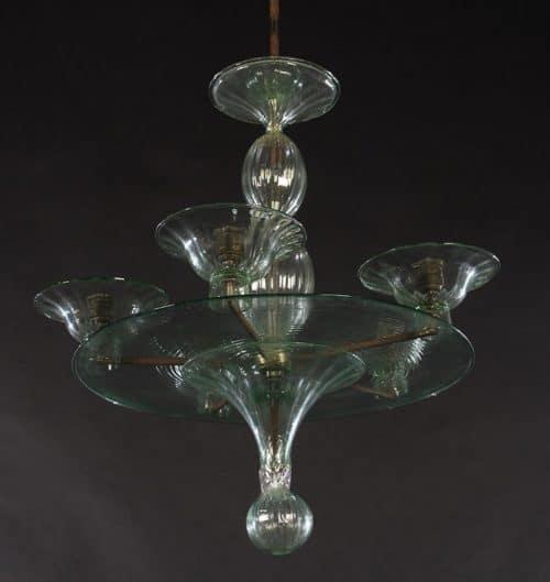 ITALIAN MODERN GREEN GLASS 4 ARM CHANDELIER 1970