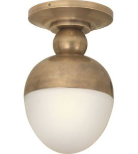 Visual Comfort Thomas O'Brien Clark Flush Mount in Hand-Rubbed Antique Brass with White Glass