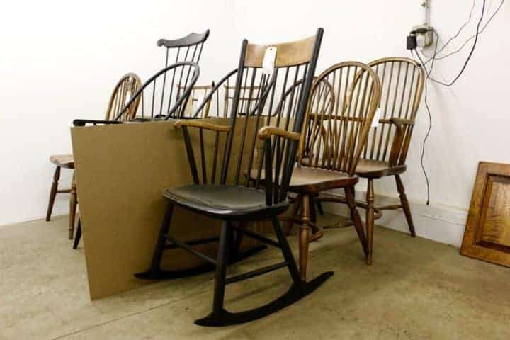 Just a few of dozens of Windsor chair models ready for shipment.