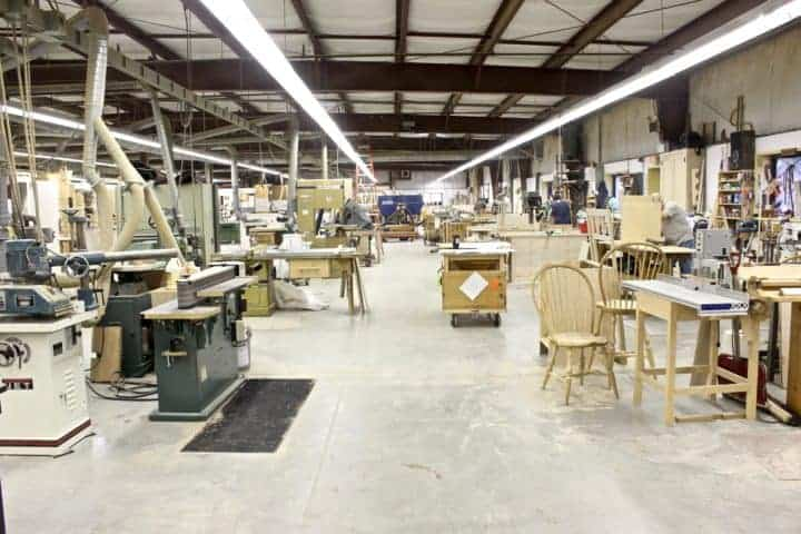 A view of the pristine workshop.