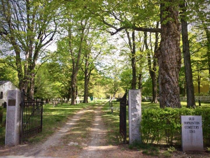 This is where I want to be buried, beneath the maple trees. The boys and I run around here finding the oldest headstones. Everyone who owned our house before WWII is buried here.