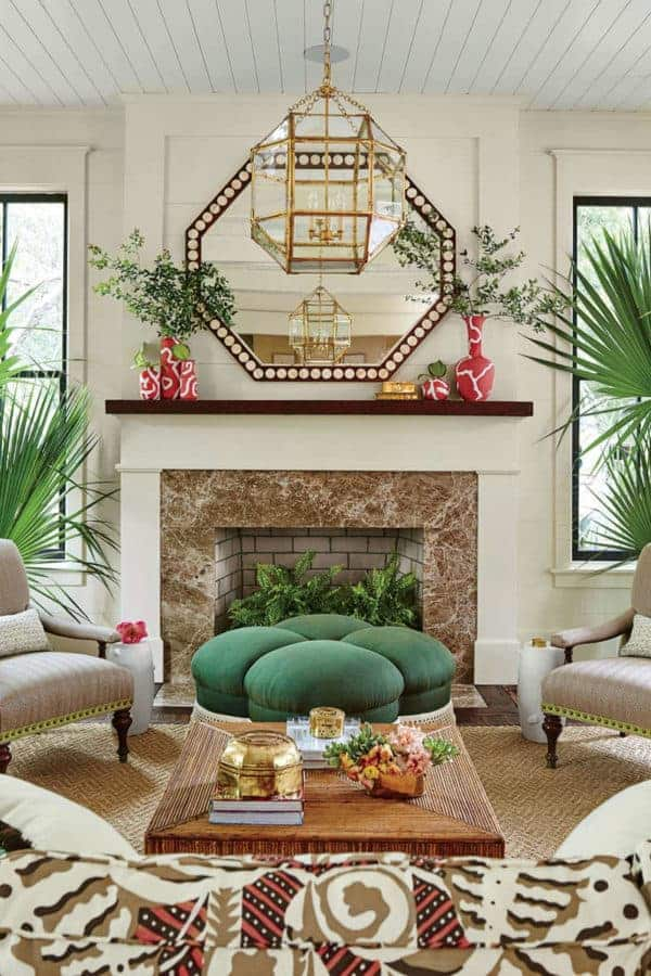 living room towards mantl