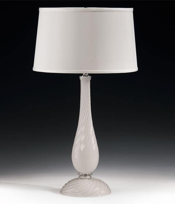 Hand-blown white Venetian glass lamp with swirl design