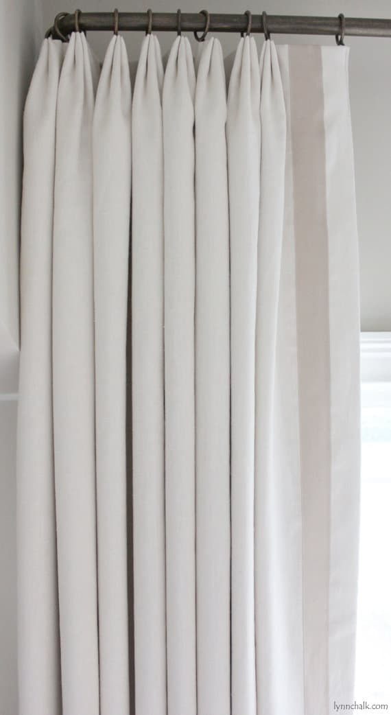 Custom Euro Pleated Drapes in Kravet Linen (Comes in 50 Colors) with Samuel & Sons Grosgrain Ribbon Trim