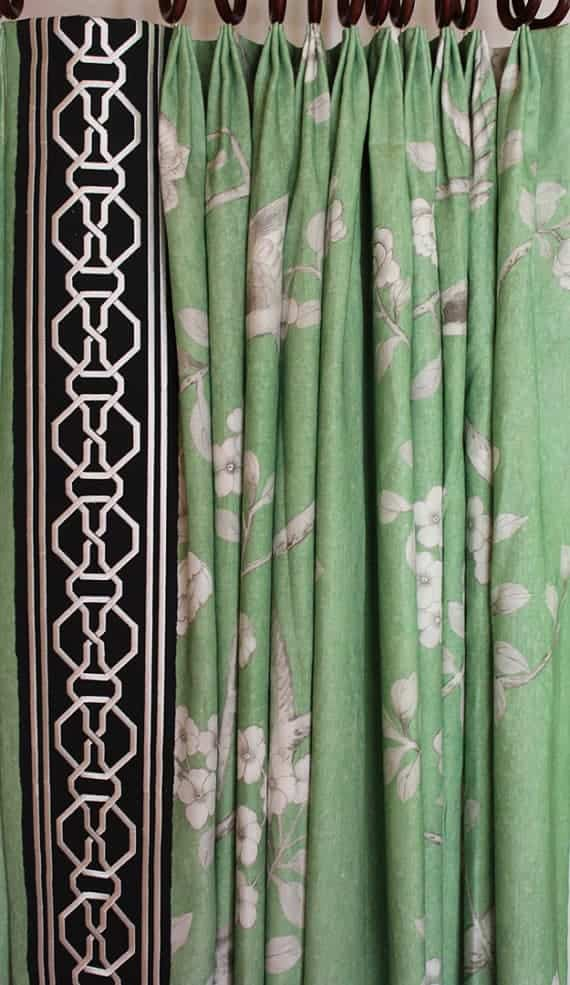 Schumacher Mary McDonald Chinois Palais Pleated Drapes with Malmaison Tape- (shown in Lettuce-comes in other colors)