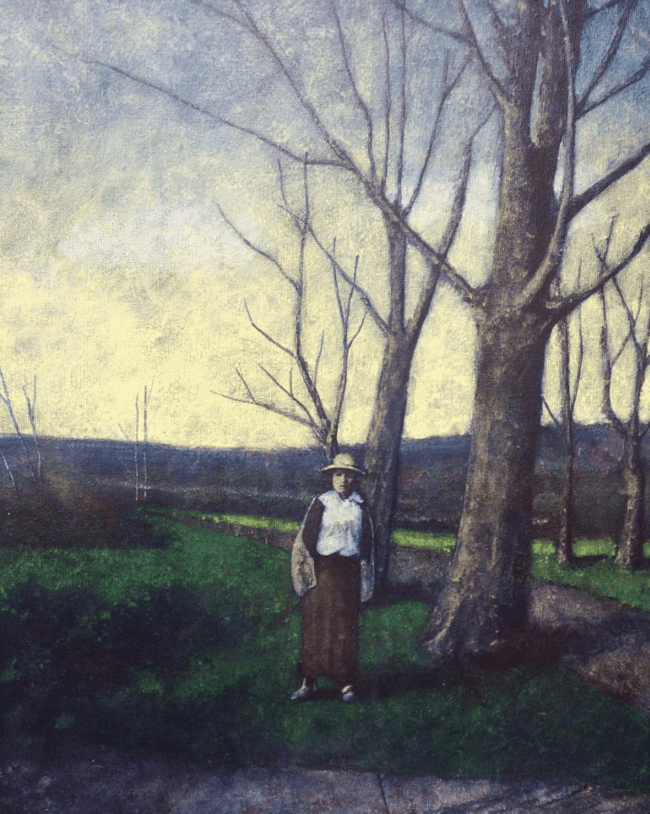 """Woman in an Autumn Landscape"" by John Winship"