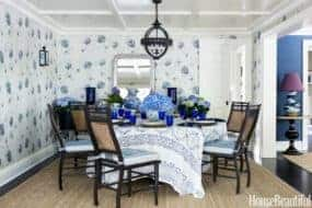 blue white patterned dining room wallpaper chinoiserie