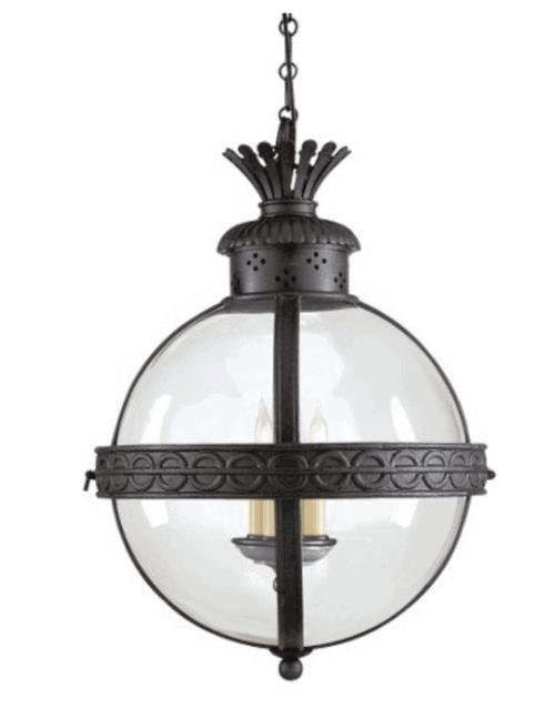 globe lantern pendant blue dining room