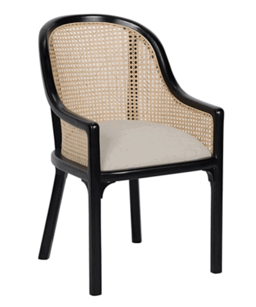 black cane dining room blue chair
