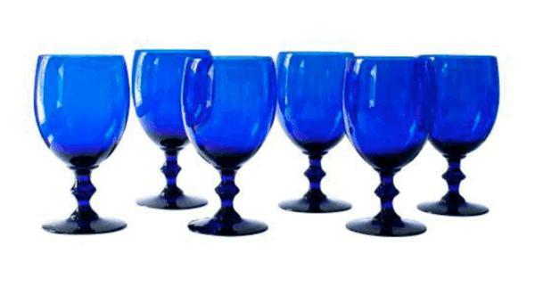 cobalt wine glasses goblets dining room
