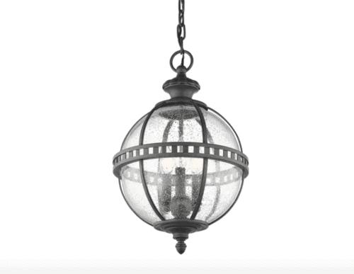 blue dining room pattern glass globe lantern