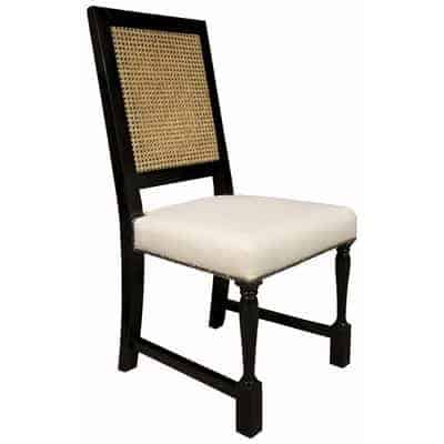 black cane dining chair blue room