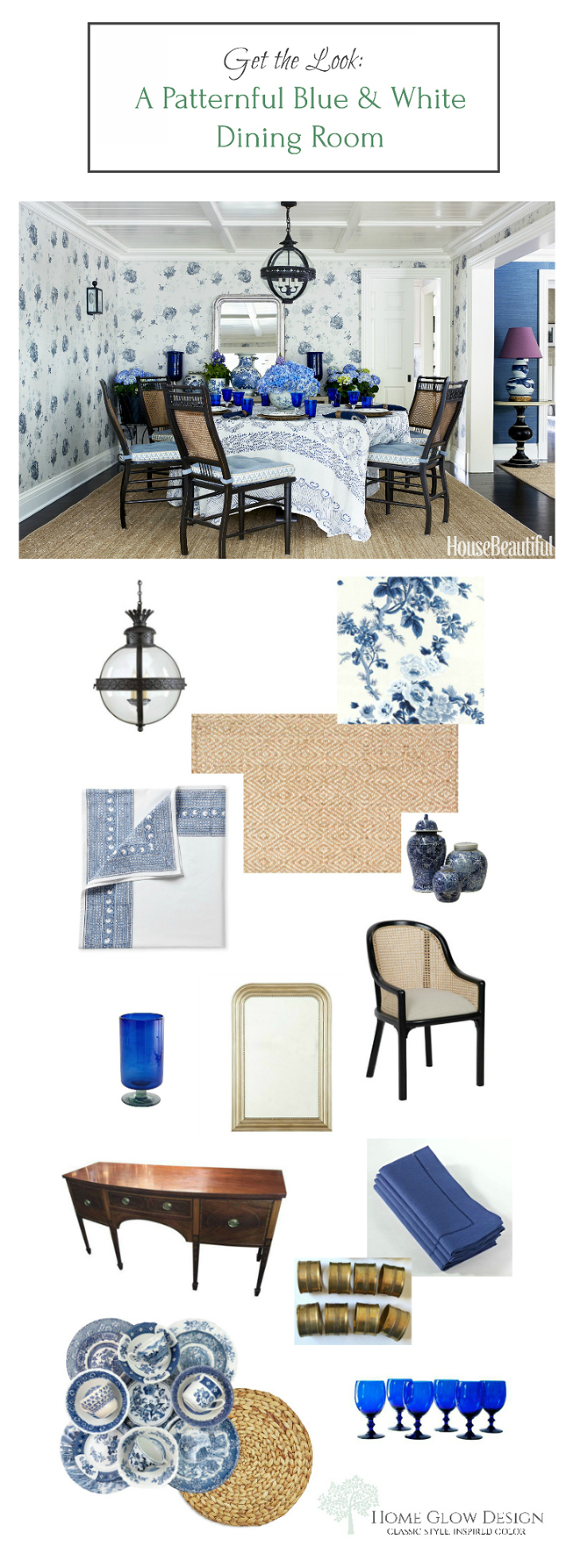 blue white dining room patternful