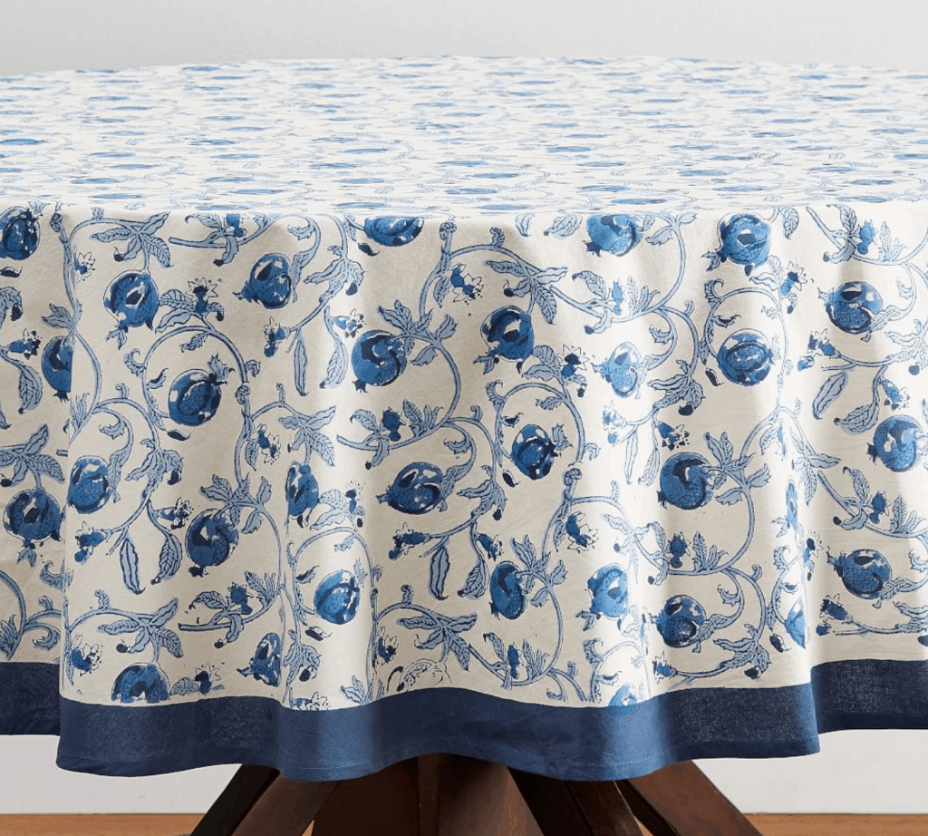 Blue Floral Hand Block Printed Table Cloth