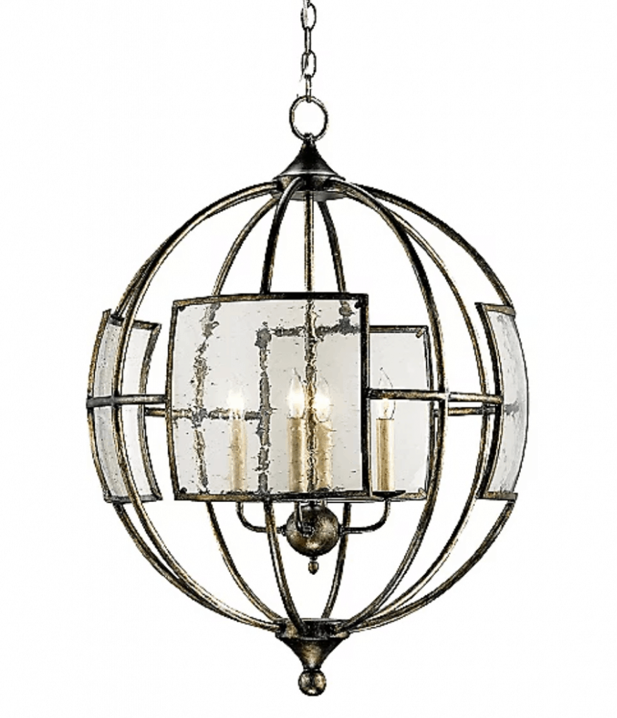 Rustic Glass & Iron Orb Chandelier