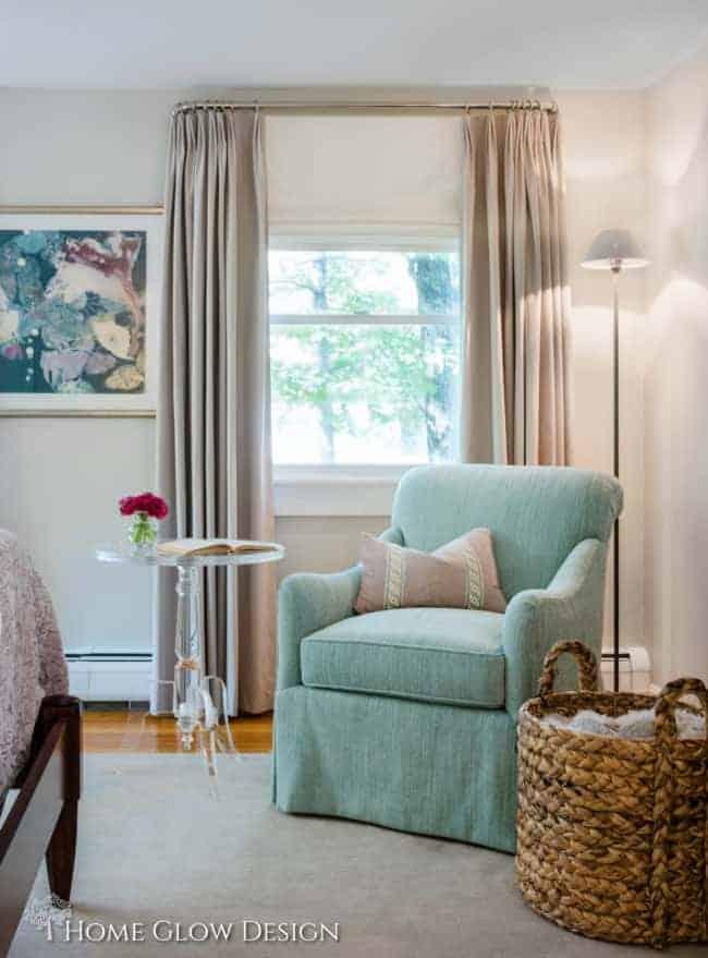 serene sophisticated gray bedroom jewel tones aqua purple art