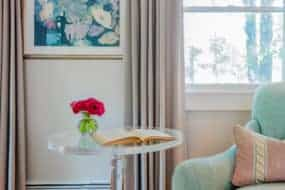 serene sophisticated gray bedroom aqua purple art lucite table