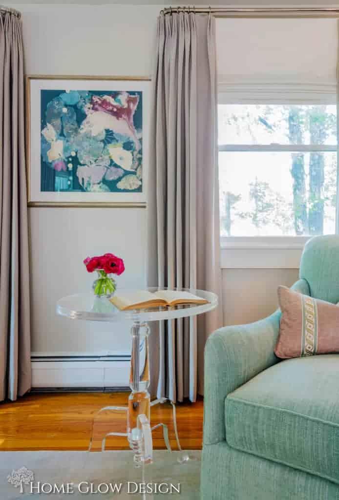 serene sophisticated gray bedroom aqua purple art lucite table
