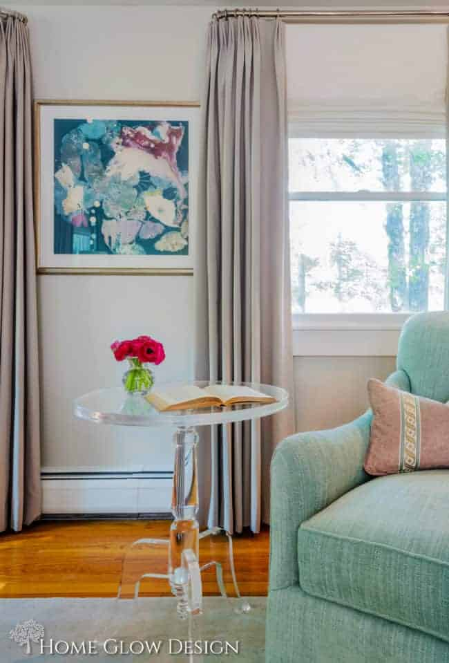 makeover reveal serene sophisticated gray bedroom aqua purple art lucite table
