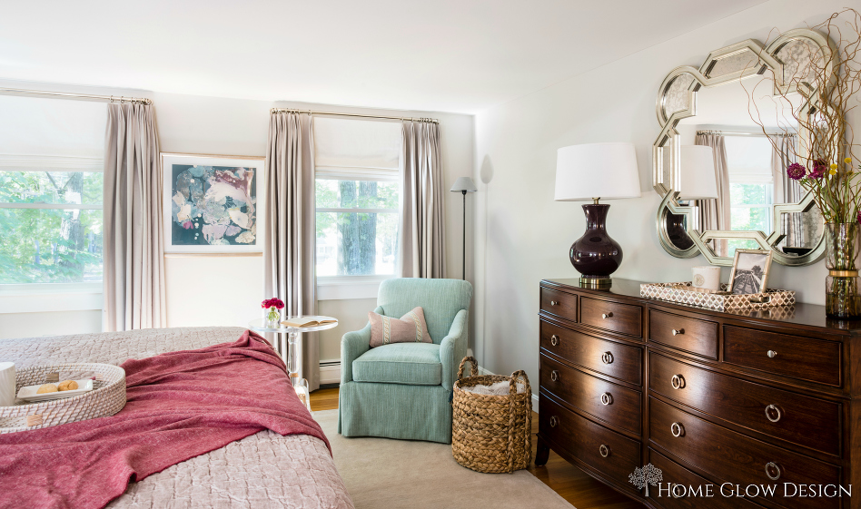 serene master suite in gray
