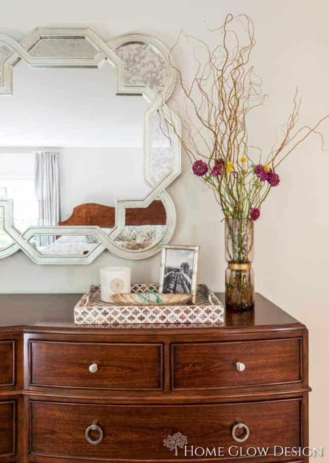makeover reveal dresser vignette purple inlay tray serene sophisticated gray bedroom