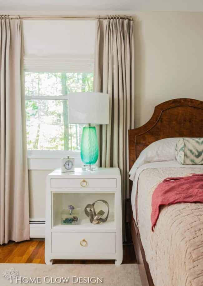 serene sophisticated bedroom, grasscloth bedside table makeover reveal