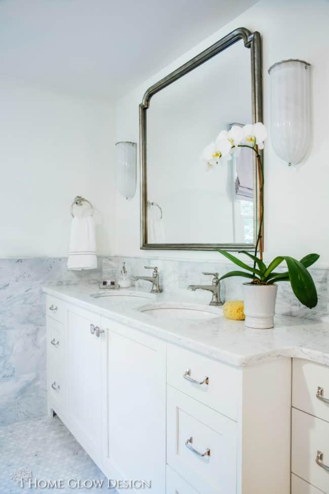 master bathroom custom vanity spa marble