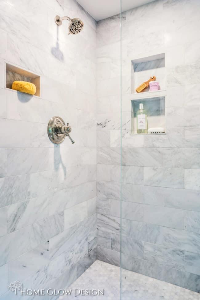 glass marble shower niche nickel fixtures