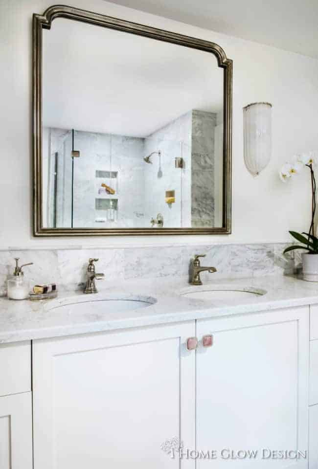 quartz vanity marble tile small spa master bathroom