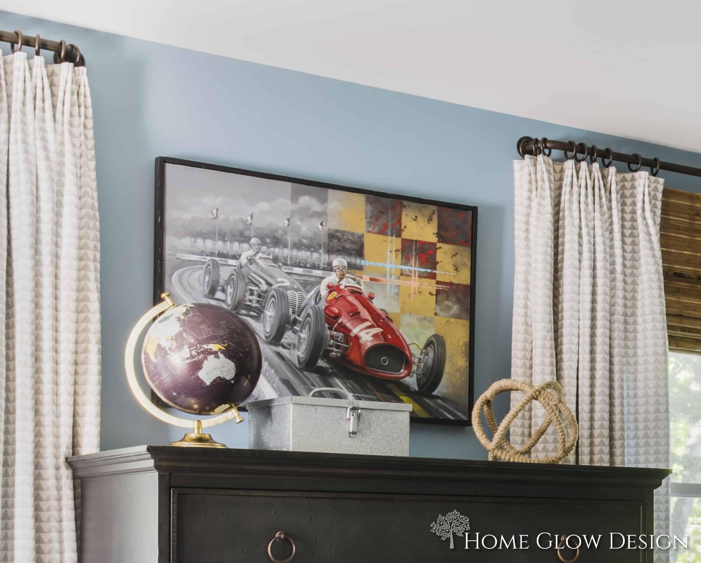 teen boy blue bedroom plaid chair rug striped wool blanket natural shades drapes