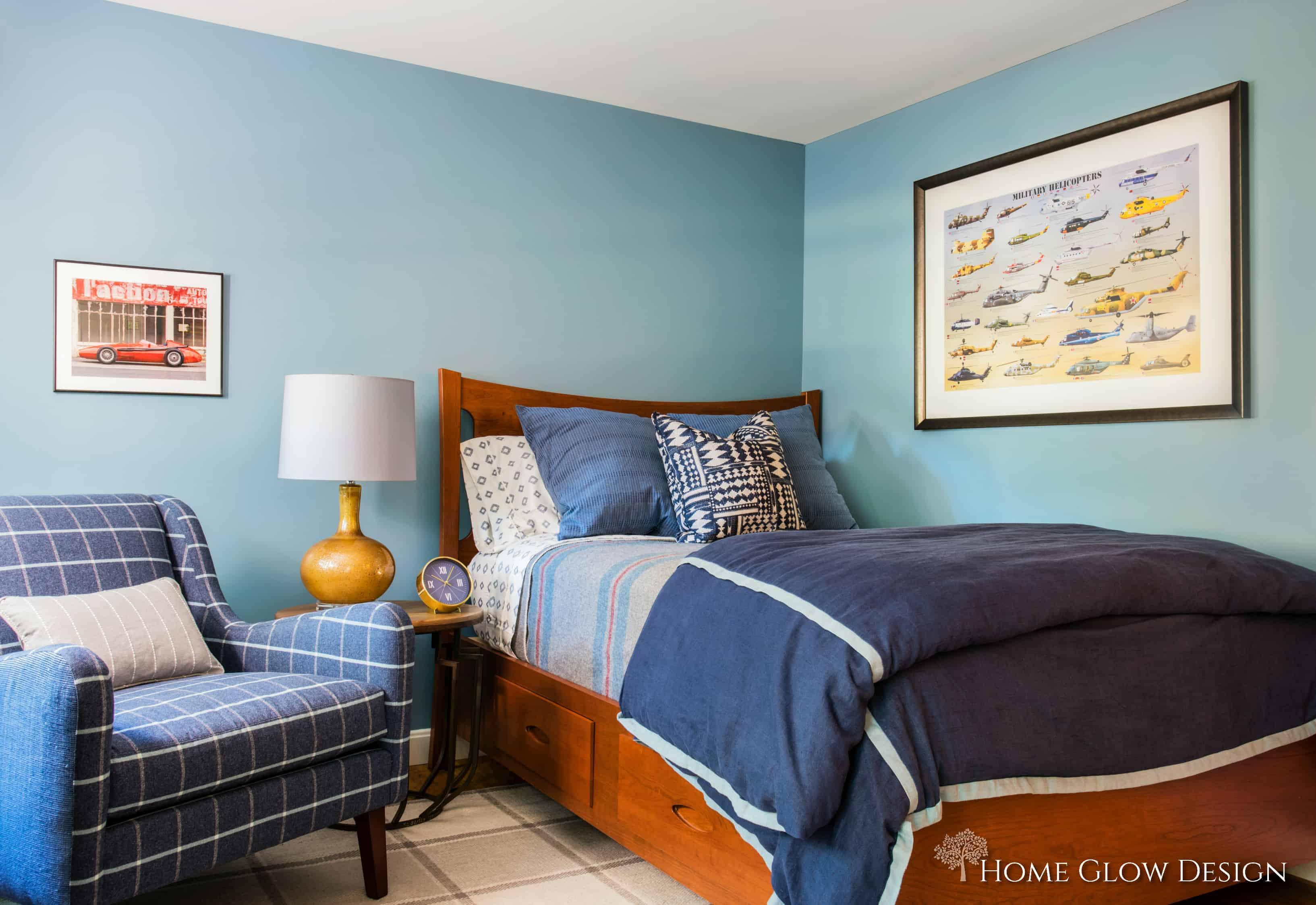 teen boy blue bedroom plaid chair rug striped wool blanket