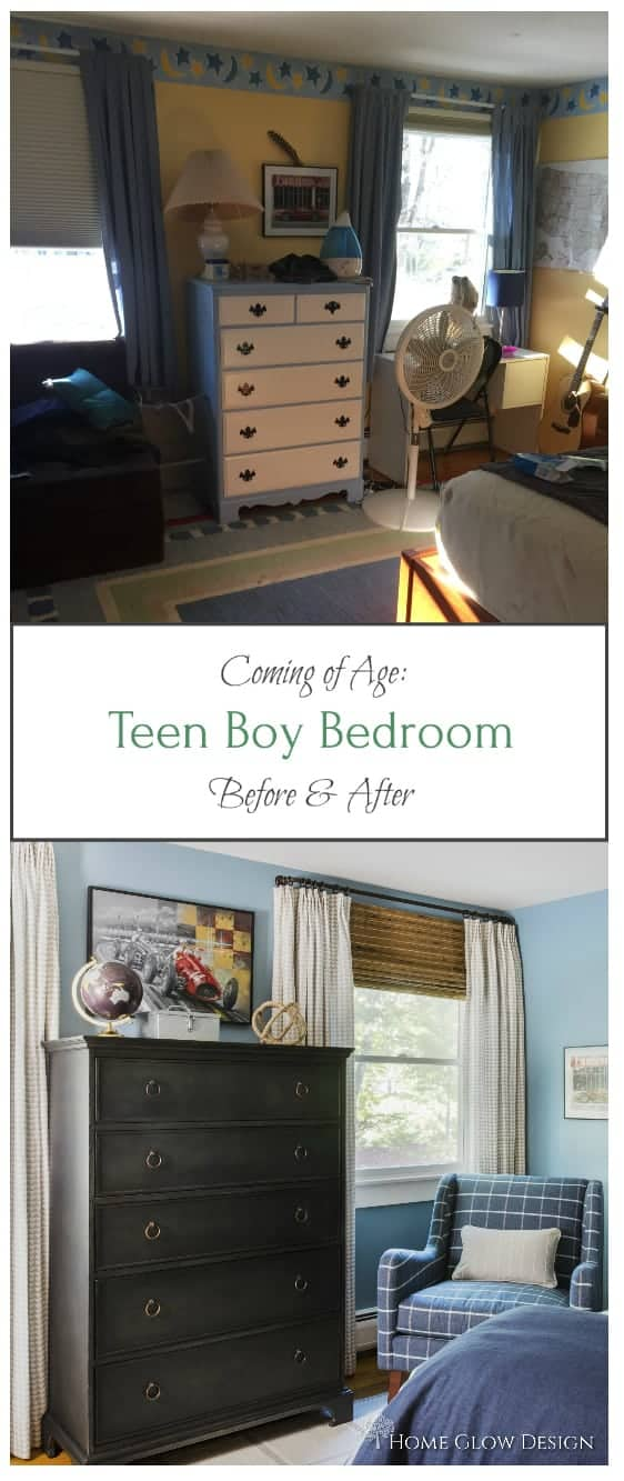 teen boy bedroom blue plaid before after