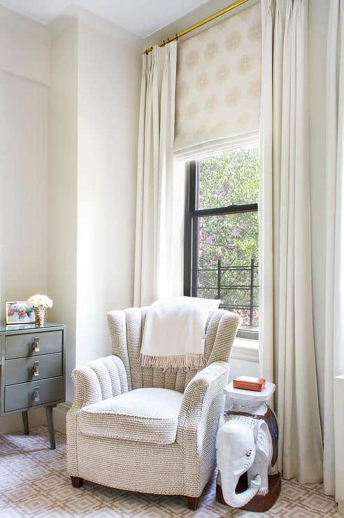 roman shade drapes neutral living room
