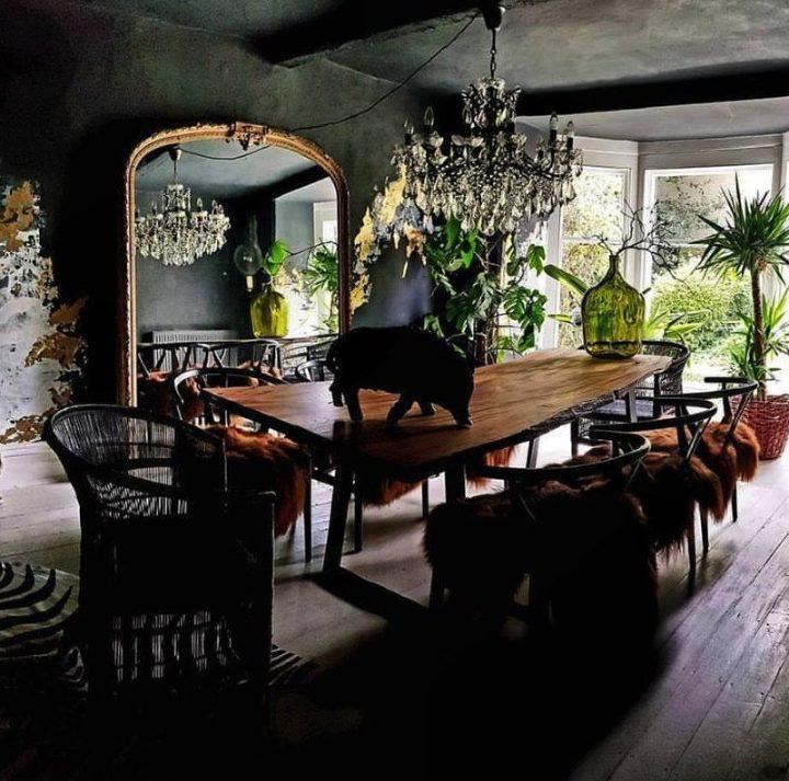 dark gray dining room live edge table