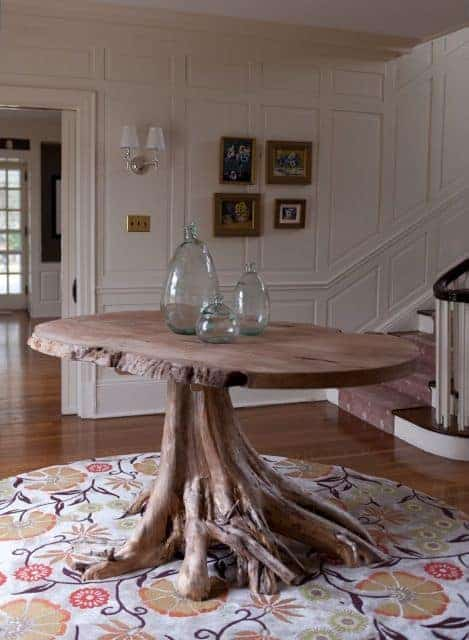 live edge foyer entry table