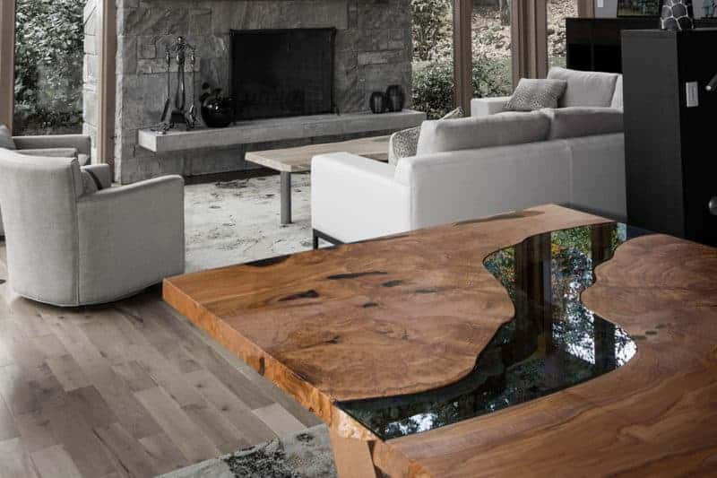 live edge table glass