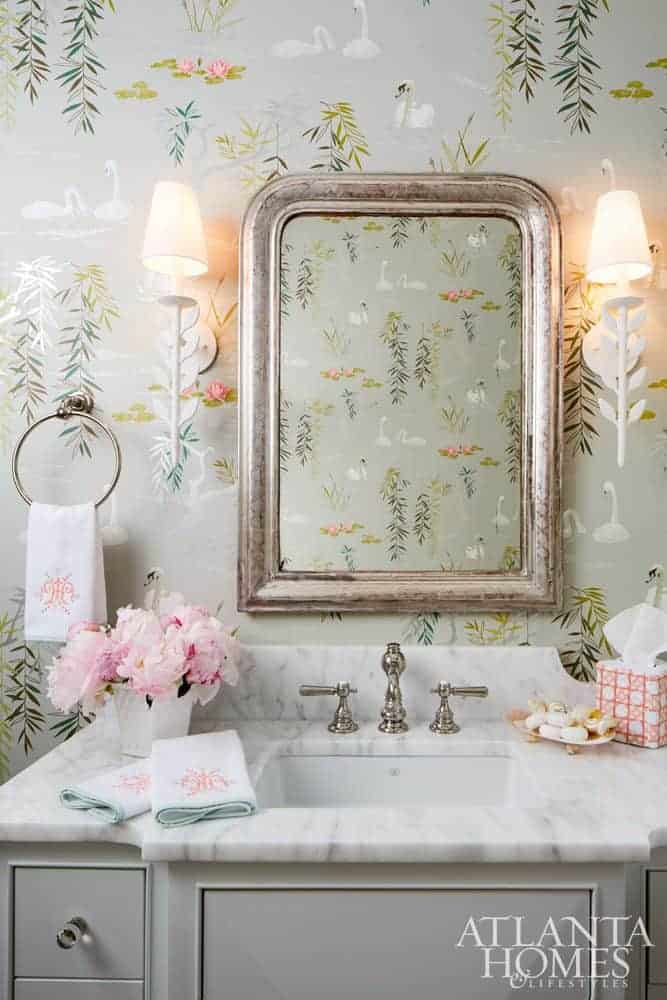 nina campbell swan lake wallpaper powder room