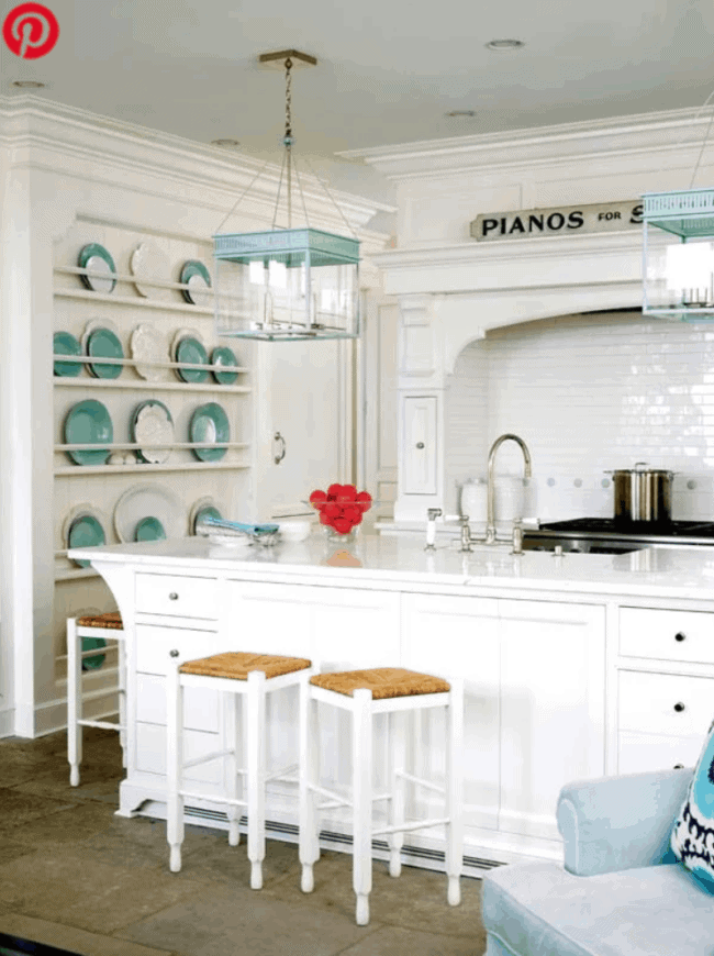 colorful kitchen island pendants turquoise lanterns