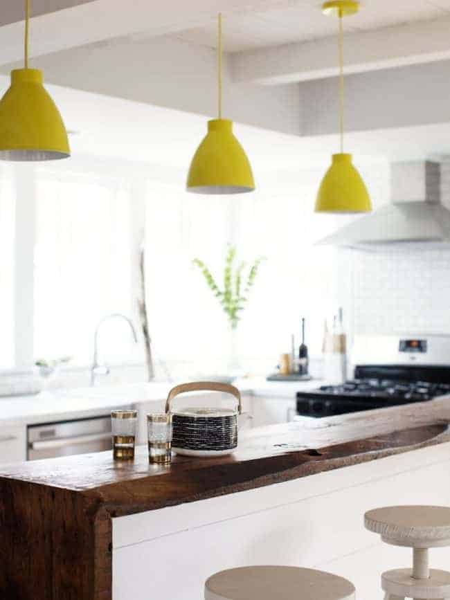 colorful yellow kitchen island pendants