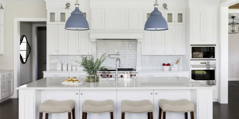colorful blue kitchen island pendants