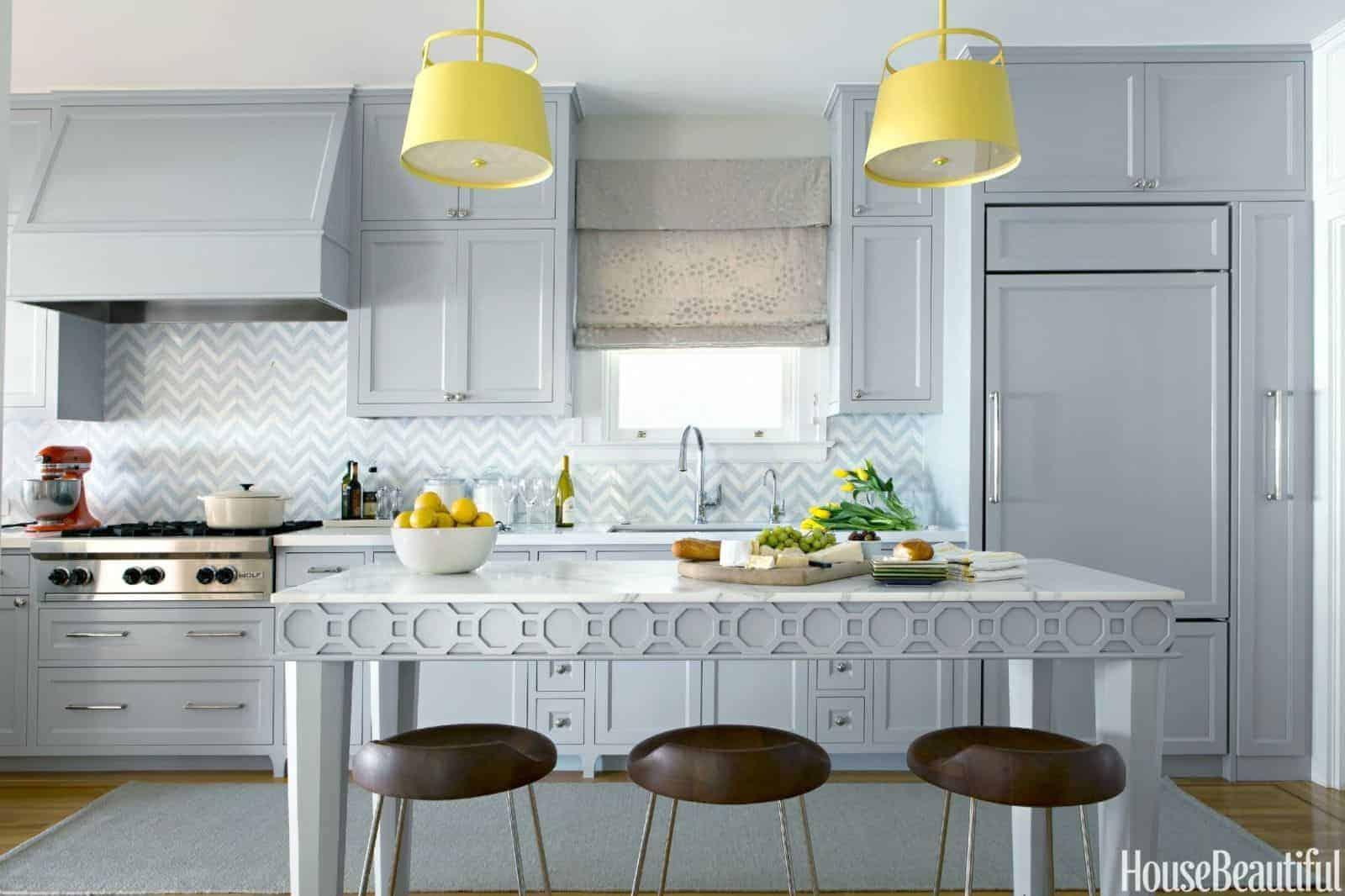 colorful kitchen yellow island pendants