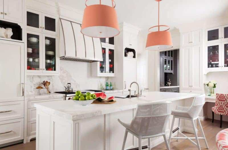 white kitchen colorful pendants