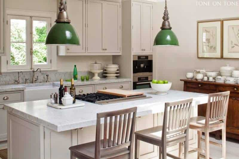 taupe kitchen marble green pendants