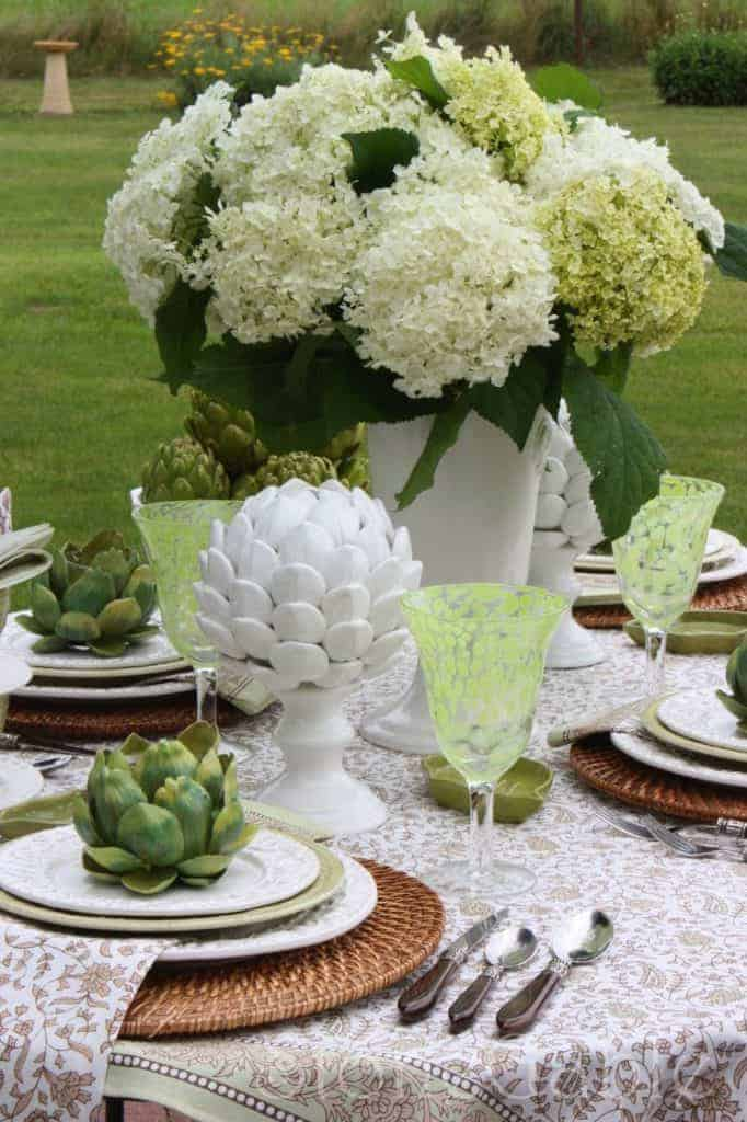 spring green tablescape setting easter