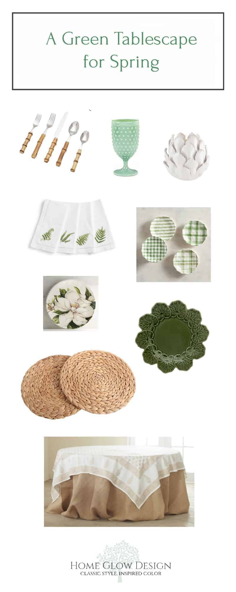 green spring easter tablescape setting