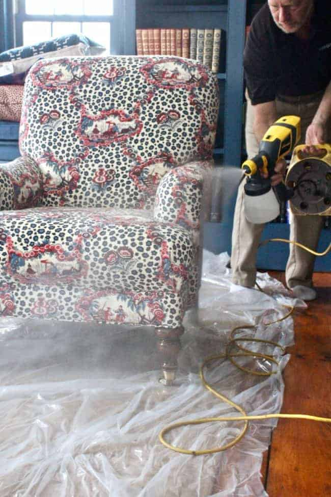 Professionally applied Stain-Free to my cotton damask sofas and cotton Leopard Toile club chair