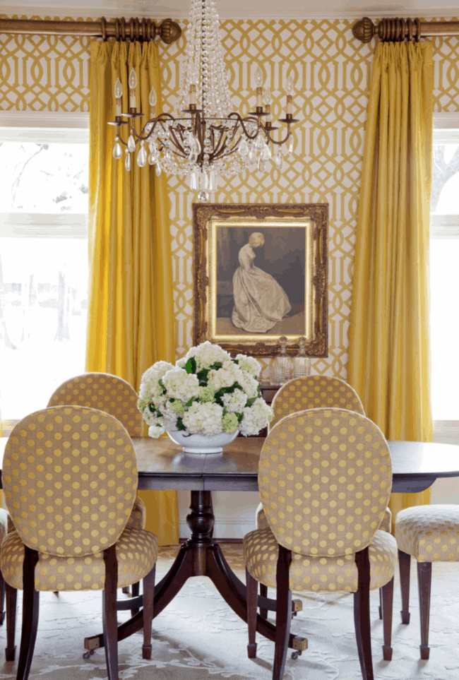 yellow wallpaper dining room